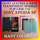 ACM-FRONT LEATHER & BACK TRANSPARENT SPARKLE FLIP CASE for SONY XPERIA SP COVER
