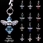 ☆CRYSTAL & 925 SILVER PLATE GUARDIAN ANGEL CLIP ON BIRTHSTONE BRACELET BAG CHARM