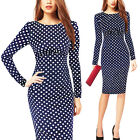 Women Vintage Celeb Ladies Polka Dot Bodycon Pencil Cocktail Evening Party Dress