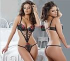 NEW! LUXURIOUS EMBROIDERED LACE &UNDERWIRED CUP THONG BACK TEDDY/MAGNETIC CLASP