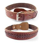 """High Quality Brown Braided Genuine Leather Large Dog Pet Collar Neck for 14-22"""""""