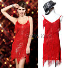 VINTAGE SEXY 20s Flapper Cocktail Gown Latin Ballroom Dance Tassel Fringe Dress