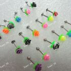10-100pcs Wholesale color Silicone flower Lip Belly Eyebrow Ear Barbell piercing
