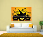 Happy Halloween, Pumpkins, WItch GIANT Print Poster, Various sizes from A3