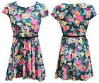 NEW IN LADIES WOMENS CREPE FABRIC MULTI FLORAL SKATER DRESS PLUS SIZE 16 - 26