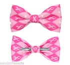 Pink Ribbon Argyle Awareness Clip On Bow Tie Bowtie