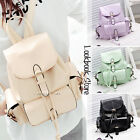 Women Sweet PU Leather Foldover Buckled Pockets Drawstring Mini Backpack Bag