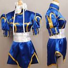 Street Fighter CHUN LI Cosplay Costume Deep Blue Kimono Cheongsam Full Set