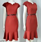 BN 1940's 50's DRESS red fishtail pencil VINTAGE sexy hourglass 8 10 12 14 16 18