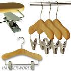 WOODEN CHILDRENS CLIP COAT HANGERS WOOD BABY KIDS CLOTHES COATHANGERS 25cm
