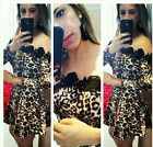 Womens sexy leopard prints Off shoulder Mini dress skirt tops for Cocktail new