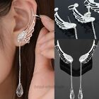Fashion Angel Wing Crystal Silver Plated Earrings Drop Dangle Ear Stud Cuff Clip