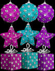 6 x Jewel Diamante Polka Dot Christmas tree Baubles Decorations pink blue purple