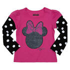 Disney Girls Pink/Black Glitter Minnie Mouse Faux Layered T Shirt - Toddler