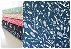 Dashwood Studio Cuckoos Calling Fabric Navy Blue Feathers Leaf Quilting Clothing