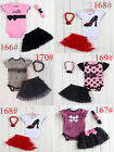 Baby Toddler Infant Girl Headband+Romper+Skirt Outfit Clothes princess costume