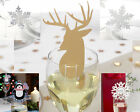 Christmas Wine Glass Decorations Place Cards Santa,Snowflake,Reindeer, Laser Cut
