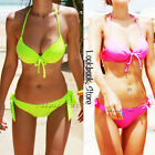 Women Sexy Push up Tie Halter  Bow Padded Bra Beach Bikini Swimsuit Set Swimwear