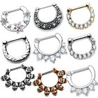SEPTUM CLICKER Nose 14G 16G Piercing Ring Cartilage CZ Steel Variation Jewelry