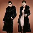 Lady  Noble Winter Warm Faux Mink Fur Long Coat Outwear Faux Fur Collar UK HF