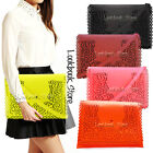 Women Eyelet Cutout Flap PU Leather Envelope Purse Handbag Clutch Shoulder Bag