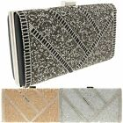 Ladies Satin Diamante Rigid Box Clutch Bag Evening Bag Bridal Wedding Bag K12031