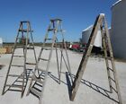 Vintage Wooden 8 Step Ladders for Decorating - Wood Surface or Painted Ladders