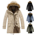 XMAS DISCOUNT Men Faux Fur Collar Hooded Parka Trench Coat PeaCoat Jacket Outer