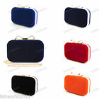 BLUE RED BLACK NAVY ORANGE Velvet Bow Clasp Hard Case Clutch Bag #0592