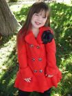 Girls RED PEA COAT WITH RUFFLES Jacket with flower Size 2 & 4 SO CUTE!!