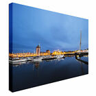 Swansea Night shot of marina Canvas Art Cheap Wall Print Home Interior
