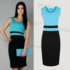 Womens Color Block Sleeveless Office Wear to work Party Bodycon Pencil Dresses