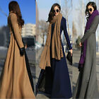 Hot Women Full-Length Wool Blend Jacket Winderbreaker Slim Fit Long Trench Coat