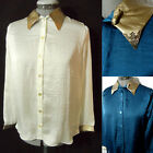 Nwt TEA N ROSE Spur Tip Western Shirt women SML Blue Ivory Gold button blouse