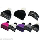 LADIES 3 IN 1 KNITTED FAIRISLE HEADBAND & BEANIE SKI BOBBLE WINTER WARM HAT
