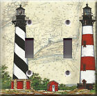 Light Switch Plate Cover - Lighthouse sea shore - Map headlight light tower view