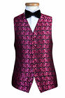 MENS BLACK PINK SWIRL PROM  DRESS PARTY WEDDING WAISTCOAT S M L XL 2XL 3XL