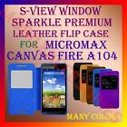 S-VIEW WINDOW SPARKLE PREMIUM LEATHER FLIP CASE MICROMAX CANVAS FIRE A104 COVER