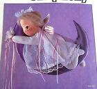 "Vtg 80s Craft Pattern ANGEL MOON baby doll wallhanging 15""  Marge Toner Nursery"