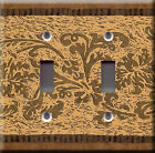 Light Switch Plate Cover - African damask gold brown - Tribal interior art deco