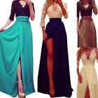 Sexy Womens V-neck Lace Bodycon Long Maxi Party Cocktail High Waist Bandge Dress