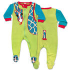 Sozo Boys Lime/Blue Giraffe Applique Zip Up Footie