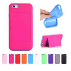 Hybrid Double Layer Hard Rugged Case ID Holder w/ Stand For iphone 6 & 6 plus