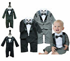 Baby Tuxedo 3 9 18 24 Month, Wedding Pageant Day Christening, Black / Grey NEW