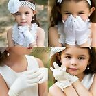1Pair Girls Kids Satin Short Glove For Wedding Pageant Holiday Formal Birthday