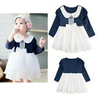 Baby Toddlers Girl White & Navy Formal Dress, Pageant / Wedding / Party 6-24M