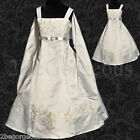 Satin Wedding Flower Girl Bridesmaid Party Communion Dresses Age 2-12 Years 018S