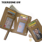 teemzone Men Genuine Leather Trifold Card Receipt Holder Driving License Pocket