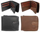 Mens Real Leather Wallet with Zipped Purse Compartment for Coins BLACK BROWN