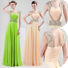 Long BEADED Satin Prom Formal Homecoming Wedding Evening Party Dresses Gown 2015